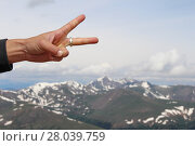 Купить «Peace sign displayed from atop a summit in the Rocky Mountains of Colorado.», фото № 28039759, снято 22 марта 2018 г. (c) PantherMedia / Фотобанк Лори