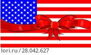 Купить «Stars And Stripes Flag Ribbon», иллюстрация № 28042627 (c) PantherMedia / Фотобанк Лори