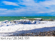 Купить «View of storm seascape.  Sea background. Waves.  waves crashing on shore», фото № 28043191, снято 22 мая 2018 г. (c) PantherMedia / Фотобанк Лори