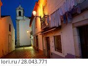 Купить «Rua Henrique Correia da Silva at night, in background belltower of Santa Maria church, historic part of Lagos, Algarve, Portugal, Europe», фото № 28043771, снято 17 ноября 2017 г. (c) age Fotostock / Фотобанк Лори