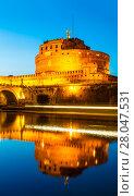Купить «Вид на замок Святого Ангела или Мавзолей Адриана поздним вечером, Рим, Италия», фото № 28047531, снято 8 сентября 2017 г. (c) Наталья Волкова / Фотобанк Лори