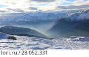 Купить «Amazing mountain landscape of Dolomite Alps in Madonna di Campiglio (Five Lakes place). Italy», видеоролик № 28052331, снято 16 января 2017 г. (c) Алексей Кузнецов / Фотобанк Лори