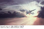 Купить «Plane in sky», фото № 28053147, снято 23 января 2019 г. (c) Яков Филимонов / Фотобанк Лори