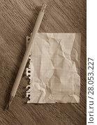 Купить «Crumpled torn page», фото № 28053227, снято 21 сентября 2018 г. (c) Яков Филимонов / Фотобанк Лори
