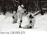 Купить «Бойцы отряда специального назначения отрабатывают приёмы рукопашного боя», фото № 28059271, снято 20 января 2016 г. (c) Free Wind / Фотобанк Лори