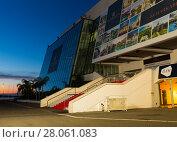 Купить «Cannes Palace of Festivals and Conferences in evening lights», фото № 28061083, снято 3 декабря 2017 г. (c) Яков Филимонов / Фотобанк Лори
