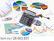 Купить «Калькулятор, графики и диаграммы. Бизнес-натюрморт», эксклюзивное фото № 28063831, снято 23 февраля 2018 г. (c) Юрий Морозов / Фотобанк Лори