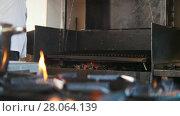 Купить «Chef on commercial kitchen opens smoked oven», видеоролик № 28064139, снято 27 мая 2020 г. (c) Константин Шишкин / Фотобанк Лори