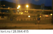 Купить «Blurred view of city highway in dusk with trace of red automobile headlight beams», видеоролик № 28064415, снято 11 августа 2017 г. (c) Яков Филимонов / Фотобанк Лори