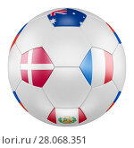 3D soccer ball with group C flags of France, Australia, Peru, Denmark on white background. Match between Denmark and France. Стоковая иллюстрация, иллюстратор LVV / Фотобанк Лори