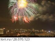 Купить «Москва. Салют над ВДНХ», фото № 28070123, снято 23 февраля 2018 г. (c) Наталья Николаева / Фотобанк Лори