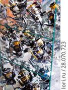 Купить «Close-up photo of variety baitcasting reel», фото № 28070723, снято 16 января 2018 г. (c) Яков Филимонов / Фотобанк Лори