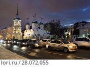 Купить «Москва, улица Сретенка зимним вечером», эксклюзивное фото № 28072055, снято 23 февраля 2018 г. (c) Dmitry29 / Фотобанк Лори