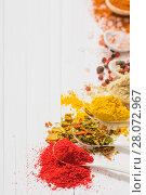 Купить «spices on white background», фото № 28072967, снято 19 сентября 2017 г. (c) Майя Крученкова / Фотобанк Лори