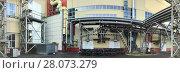 Купить «Панорама промышленного цеха, фасад здания и энергетические трубопроводы», фото № 28073279, снято 19 января 2020 г. (c) Кекяляйнен Андрей / Фотобанк Лори