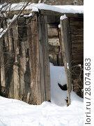 Купить «Старый деревянный сарай», фото № 28074683, снято 26 февраля 2018 г. (c) Марина Володько / Фотобанк Лори