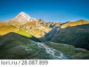 Купить «Georgia, Stepantsminda, Kazbek mountain», фото № 28087899, снято 10 сентября 2017 г. (c) Андрей Пожарский / Фотобанк Лори