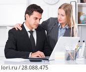 Купить «Sexual harassment between colleagues», фото № 28088475, снято 20 апреля 2017 г. (c) Яков Филимонов / Фотобанк Лори