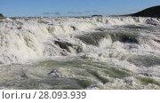 Купить «Gullfoss waterfall is one of the most popular tourist attractions in Iceland located in the canyon of Olfusa river in southwest Iceland», видеоролик № 28093939, снято 20 ноября 2017 г. (c) Алексей Кузнецов / Фотобанк Лори