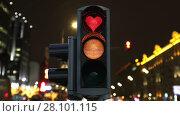 Купить «Traffic lights in operation in the background of the night city», видеоролик № 28101115, снято 15 февраля 2018 г. (c) Алексей Кузнецов / Фотобанк Лори