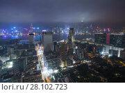 Купить «Skyscrapers with illlumination, river and road at night in Hong Kong city, China», фото № 28102723, снято 31 января 2016 г. (c) Losevsky Pavel / Фотобанк Лори