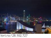 Купить «Skyscrapers with illlumination, river with ships at night in Hong Kong city, China», фото № 28102727, снято 2 февраля 2016 г. (c) Losevsky Pavel / Фотобанк Лори