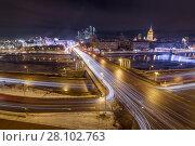 Купить «Bridge of Bogdan Khmelnitsky on Moskva river in winter evening in Moscow, Russia», фото № 28102763, снято 1 февраля 2016 г. (c) Losevsky Pavel / Фотобанк Лори