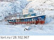 Купить «Териберка зимой. Лодка на берегу», фото № 28102967, снято 5 ноября 2016 г. (c) Victoria Demidova / Фотобанк Лори