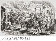 Купить «The Stamp Act riots in New York, 1765. From a 19th century illustration.», фото № 28105123, снято 15 сентября 2009 г. (c) age Fotostock / Фотобанк Лори