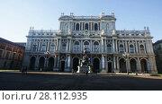 Купить «Rear facade of Palazzo Carignano in Piazza Carlo Alberto in Turin, Italy», видеоролик № 28112935, снято 6 декабря 2017 г. (c) Яков Филимонов / Фотобанк Лори