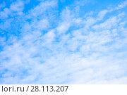 Купить «Pale blue sky with clouds», фото № 28113207, снято 15 мая 2017 г. (c) Роман Сигаев / Фотобанк Лори