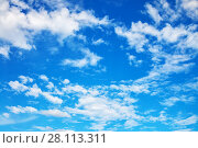 Купить «Blue sky with clouds», фото № 28113311, снято 6 августа 2017 г. (c) Роман Сигаев / Фотобанк Лори