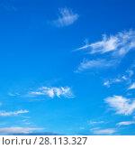 Купить «Blue sky with light clouds», фото № 28113327, снято 25 июня 2017 г. (c) Роман Сигаев / Фотобанк Лори
