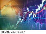 Купить «Graph charts of stock market», фото № 28113367, снято 27 февраля 2018 г. (c) Роман Сигаев / Фотобанк Лори