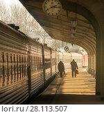 Купить «Вокзал. На платформе», эксклюзивное фото № 28113507, снято 3 марта 2018 г. (c) Александр Алексеев / Фотобанк Лори