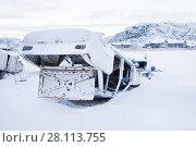 Купить «Свалка старых автомобилей в Териберке. Кольский полуостров», фото № 28113755, снято 5 ноября 2016 г. (c) Victoria Demidova / Фотобанк Лори