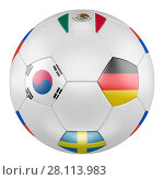 3D soccer ball with group F flags of Germany, Mexico, Sweden, Korea Republic on white background. Match between Korea Republic and Germany. Стоковая иллюстрация, иллюстратор LVV / Фотобанк Лори