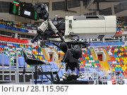 Купить «MOSCOW - JAN 27, 2017: Professional cameraman workplace at basketball match CSKA (Moscow) - Anadolu Efes (Istanbul) in Megasport stadium», фото № 28115967, снято 27 января 2017 г. (c) Losevsky Pavel / Фотобанк Лори