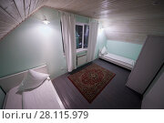 Купить «Interior of room with two beds in hotel», фото № 28115979, снято 3 февраля 2017 г. (c) Losevsky Pavel / Фотобанк Лори