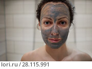 Купить «Woman with hygienic clay mask applied on face», фото № 28115991, снято 3 февраля 2017 г. (c) Losevsky Pavel / Фотобанк Лори