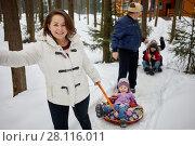 Купить «Smiling woman and man ride children on sledge in winter park», фото № 28116011, снято 4 февраля 2017 г. (c) Losevsky Pavel / Фотобанк Лори