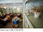 Купить «VASILYEVSKOYE, MOSCOW REGION, RUSSIA - FEB 4, 2017: Children (with model releases)draw pictures sitting at tables in studio at Provence-Hotel Four Seasons», фото № 28116015, снято 4 февраля 2017 г. (c) Losevsky Pavel / Фотобанк Лори