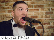 Купить «Man with beard sings into microphone on stage wiuth brick wall in club», фото № 28116135, снято 18 февраля 2017 г. (c) Losevsky Pavel / Фотобанк Лори