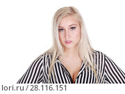 Купить «Young pretty blonde in shirt poses isolated on white background», фото № 28116151, снято 31 октября 2016 г. (c) Losevsky Pavel / Фотобанк Лори