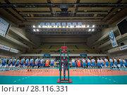 Купить «MOSCOW - NOV 5, 2016: Two teams before volleyball game Dynamo (Moscow) and Ural (Ufa) in Palace of Sports Dynamo», фото № 28116331, снято 5 ноября 2016 г. (c) Losevsky Pavel / Фотобанк Лори