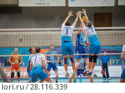Купить «MOSCOW - NOV 5, 2016: Players near net at volleyball game Dynamo (Moscow) and Ural (Ufa) in Palace of Sports Dynamo», фото № 28116339, снято 5 ноября 2016 г. (c) Losevsky Pavel / Фотобанк Лори