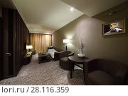 Купить «YEREVAN, ARMENIA - JAN 4, 2017: Empty accommodation in Hotel National, Created in a business style, the comfortable hotel allows every guest to feel welcome», фото № 28116359, снято 4 января 2017 г. (c) Losevsky Pavel / Фотобанк Лори