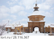 Купить «Wooden gate with tower of Russian Orthodox Monastery at winter day», фото № 28116367, снято 15 ноября 2016 г. (c) Losevsky Pavel / Фотобанк Лори