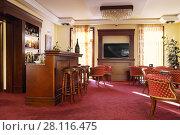 Купить «TSAGHKADZOR, ARMENIA - JAN 6, 2017: Bar in Elegant Hotel and Resort is located 1.2 km from ski lift Tsaghkadzor 5 in ski resort», фото № 28116475, снято 6 января 2017 г. (c) Losevsky Pavel / Фотобанк Лори