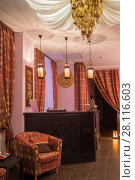 Купить «Reception in thai day spa with luxury asian decoration, armchairs and canopy», фото № 28116603, снято 12 декабря 2016 г. (c) Losevsky Pavel / Фотобанк Лори